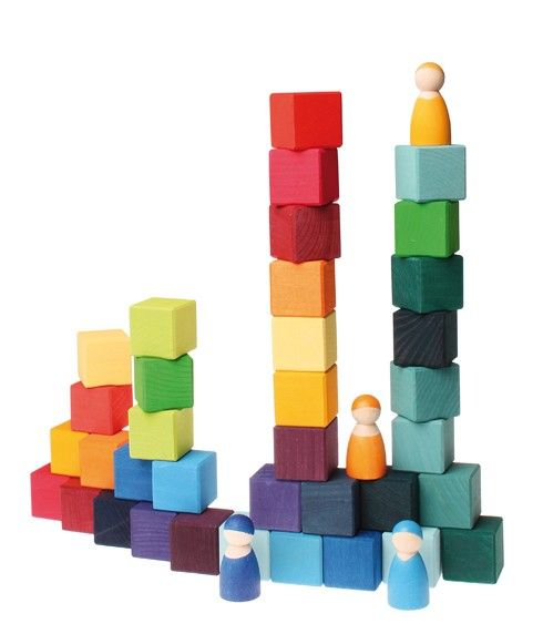 Rainbow Cube Blocks with Wooden Peg People. From Bella Luna Toys.: Wooden Peg