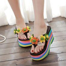 2016 9 CM de la mujer dulce del sol flor del arco iris del alto talón Flip flop cuñas zapatillas lindo bagatela Beach zapatillas N-017(China (Mainland))