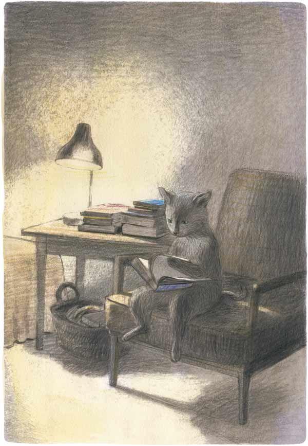Chiaki OkadaCat Art, Illustration, Illustration, Book, Chiaki Okada, Kitty, Cat Reading, Okada Chiaki, Animal