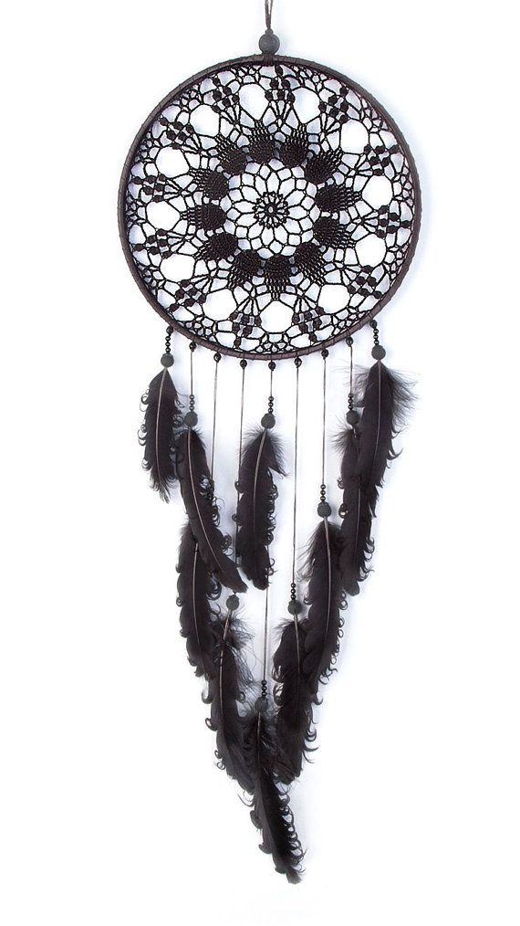 Black Dream Catcher, Crochet Doily Dreamcatcher, large dreamcatcher, feathers…