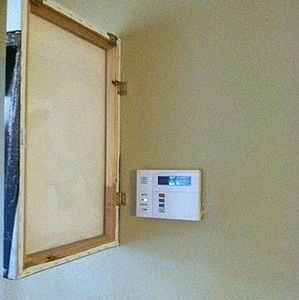 Cool idea! Could also do something like this to cover an ugly fuse box. And keeping people off your thermostat