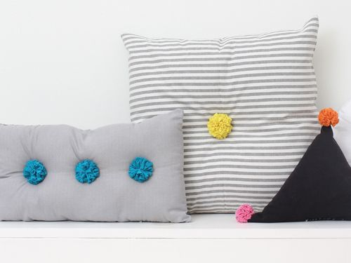 How to make pom-pom pillows. (from Pom-Poms! 25 Awesomely Fluffy Projects)