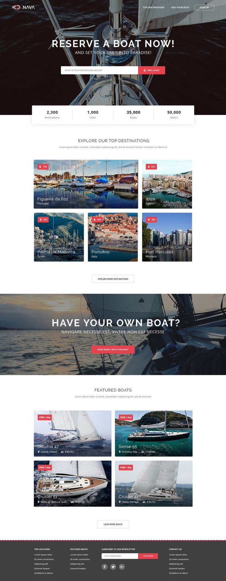 Nava is a website for people to list, find, and rent sailing boats. This clean…