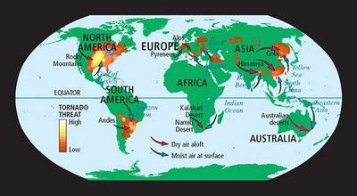 World Map Tornadoes AFP CV