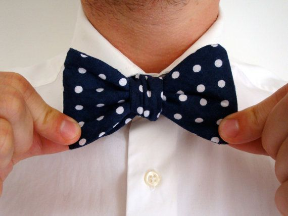 Navy Polka Dot Print Bow Tie // Mens Suit Tie // by hellobettybow, £10.00