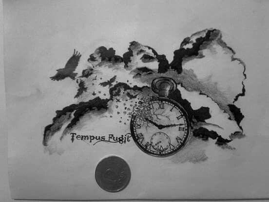 By JuhVik break clock, Bird, time, tattoo plan