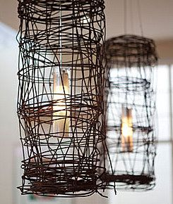 as light shades- oh yeaDecor, Lights Fixtures, Wire Lights, Chicken Wire, Wire Pendants, Diy Lights, Barbed Wire, Wire Art, Rustic Feelings