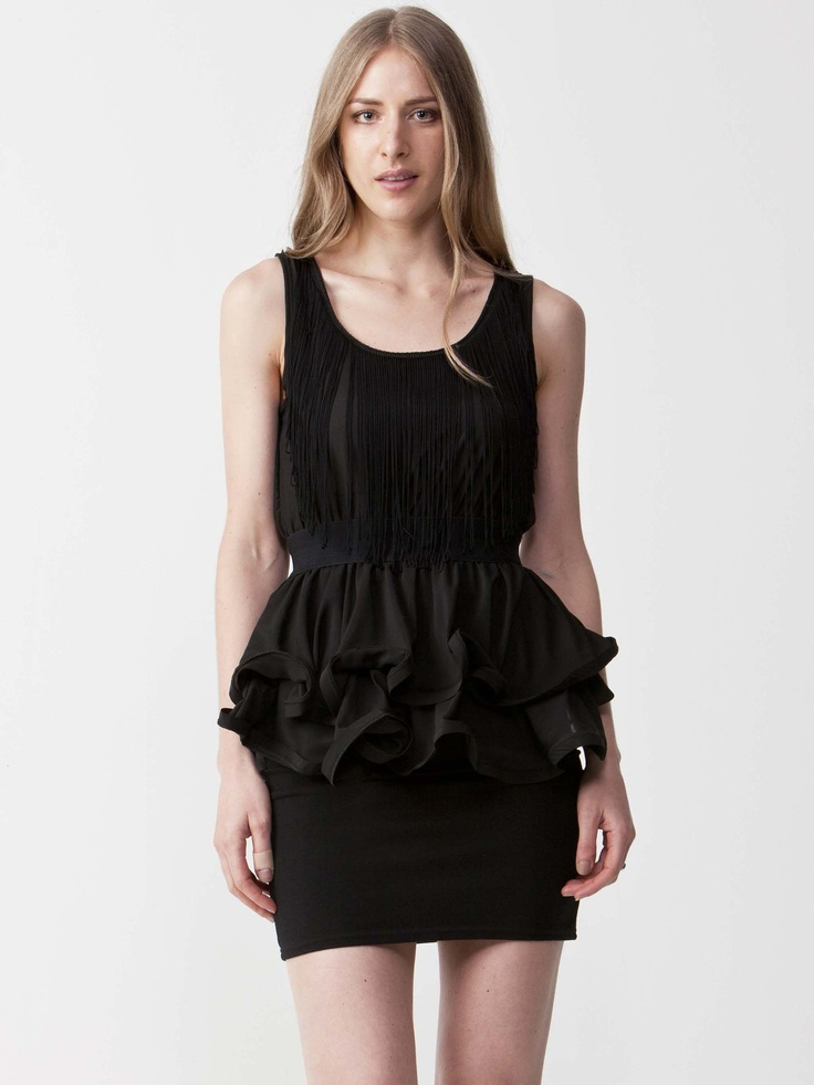 Robin - Black Peplum Dress with round neckline.  Loose fitting front lining with tiered peplum.  Tapered waistline and regular fit cut. $77.00