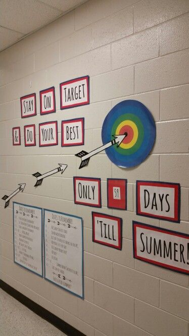 "End of the year display,  bulletin board.   ""Stay on target & do your best.... Only blank days till summer!! Then we added all of the important dates for the Media Center."