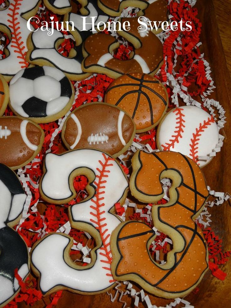 Baseball and Basketball Cookies  By Cajun Home Sweets http://www.facebook.com/cajunhomesweet