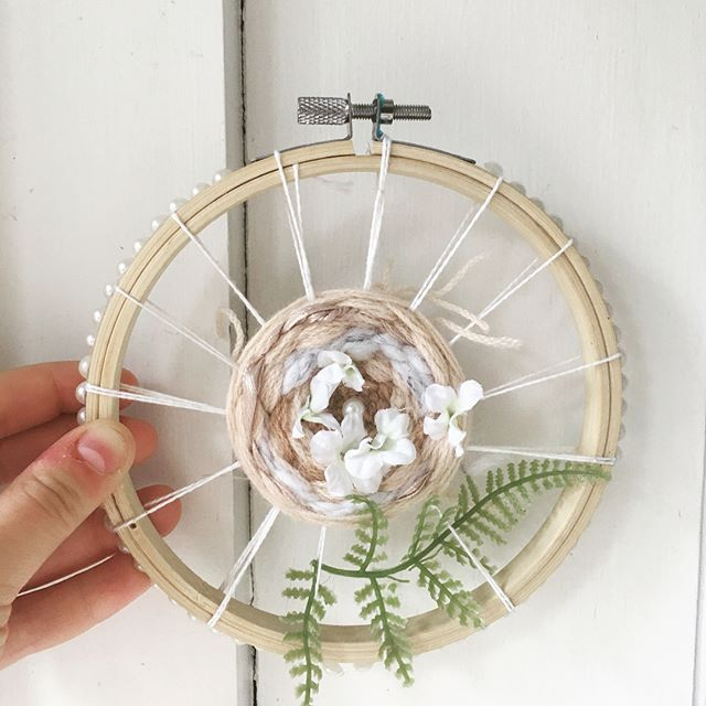 Finishing up this pearl studded beauty today so it can be hung and put in the shop!🌸 I love playing around with circle weaving! .  .  .  #weave #weaving #woven #handwoven #handmade #embroideryhoop #art #floral #florals #flower #flowers #fern #pearl #pearls #wallhanging #walldecor #wallart #etsy #shop #shoplocal #shopsmall #toronto #ryerson #spring