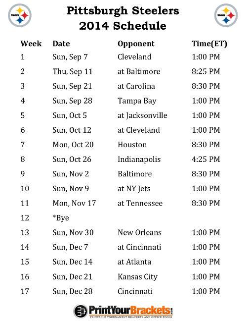 Printable Pittsburgh Steelers Schedule - 2014 Football Season
