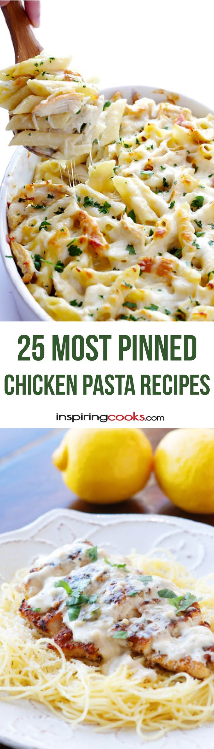 25 Most Pinned Chicken Pasta Recipes – Best Cheap & Easy Recipes. Each of these recipes has been pinned at least 50,000 times. I want to try them all!