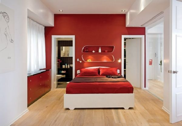 Red and White Bedroom Interior
