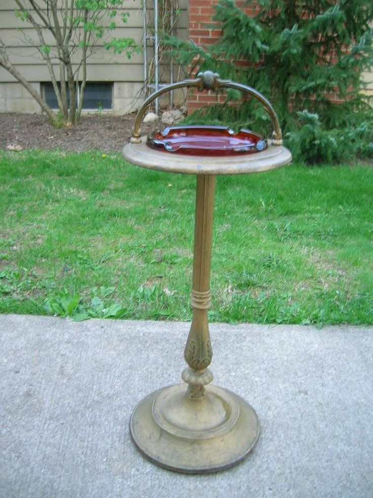 Lovely Art Deco Vtg Ashtray U0026 Stand Patio Garden Decor Bird Bath Shabby Gold Amber