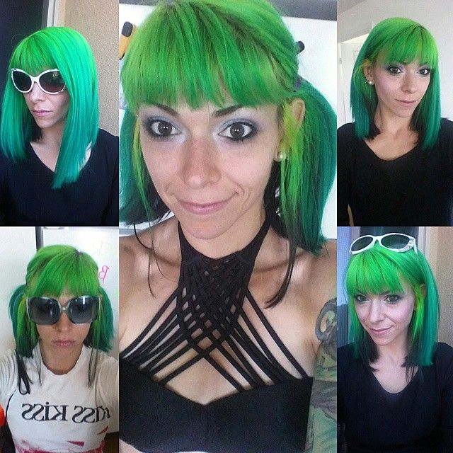 Pretty green hair using Manic Panic's Electric Lizard and Atomic Turquoise - via @amyschlern