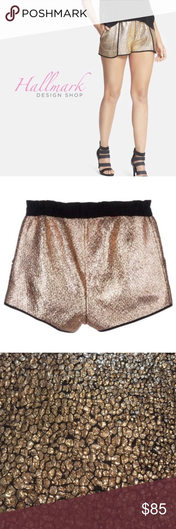 Whitney Eve Luxury Golden Shorts So cute! Pair it with the Whitney Eve Golden Shower Top available in my closet! 📏 Medium: 15 inches across waist and 14 inches long. Bundle and save 10%! Comment with questions! High end. You can tell it retails over $100 Whitney Eve Shorts