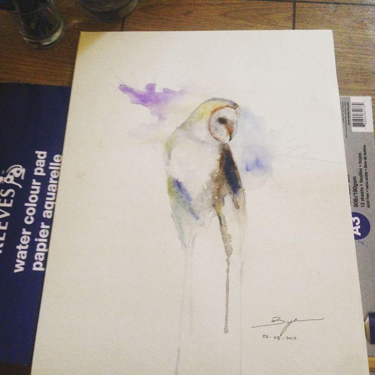 Barn owl #watercolor