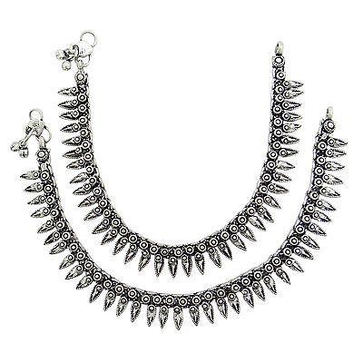 Silvertone Oxidize Indian Metal Anklet Fashion Buy Online Jewellery For Women | eBay