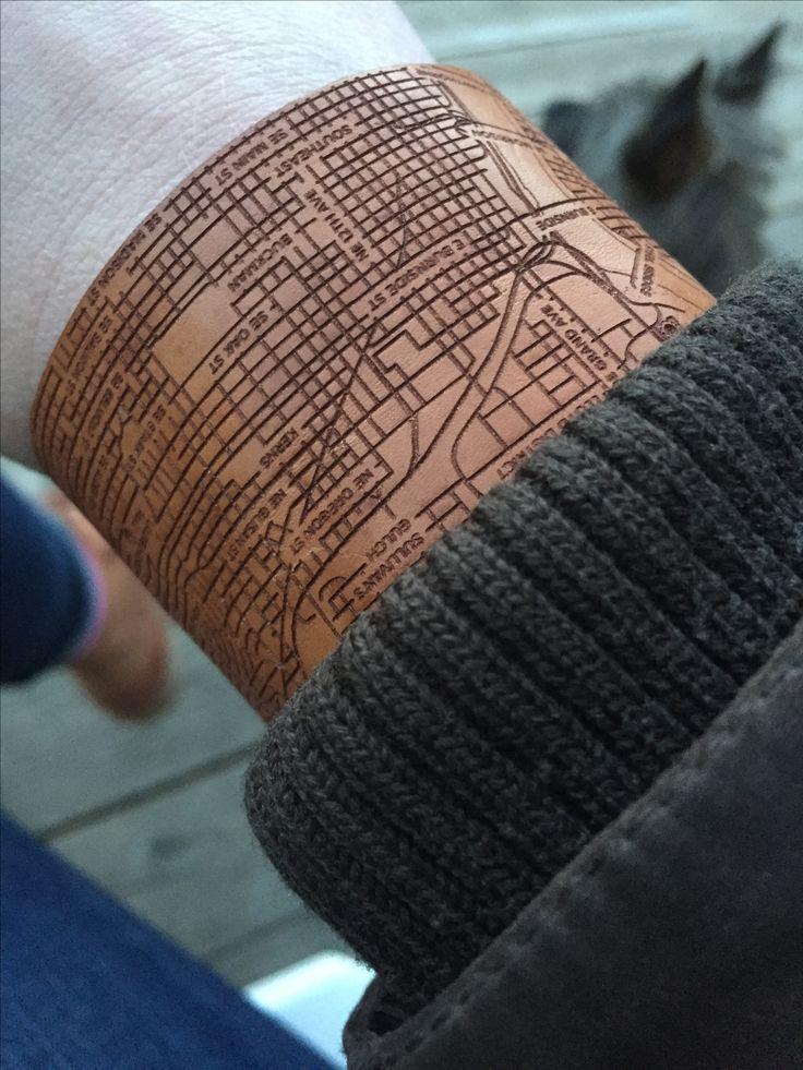 Portland City Map bracelet. Leather - vegetable tanned - handmade in the USA. www.designhypeinc.com
