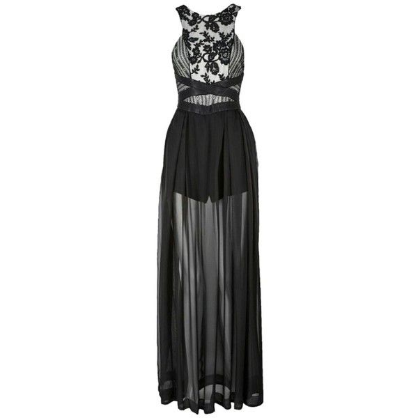 Pre-owned Three Floor Black Lace Blitz Sheer Lace And Chiffon Maxi... ($299) ❤ liked on Polyvore featuring dresses, black lace, maxi skirt, lace cocktail dress, lace maxi dress, chiffon maxi skirt ve pleated maxi dress