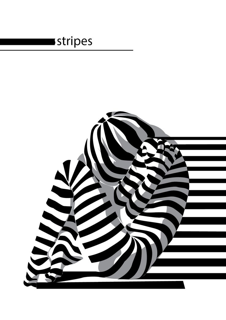 woman, optical illustion, stripes, black and white, pose