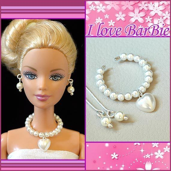 handmade barbie doll jewelry set necklace earrings for barbie dolls #Doesnotapply
