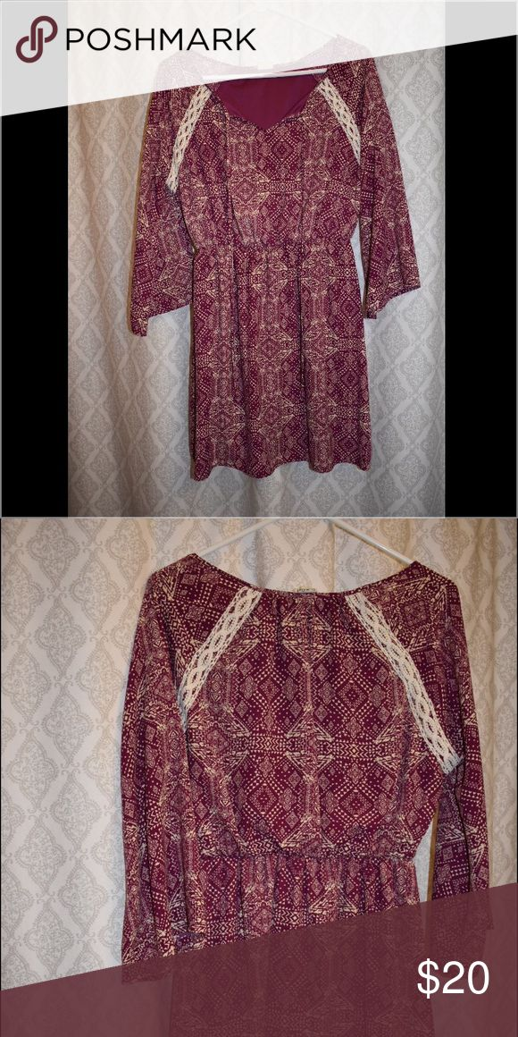 SHOP HOPES SOLD OUT Geometric Pattern Sundress Super chic magenta sundress with lace detail around the arms. Perfect addition to a boho closet!! Dresses Long Sleeve
