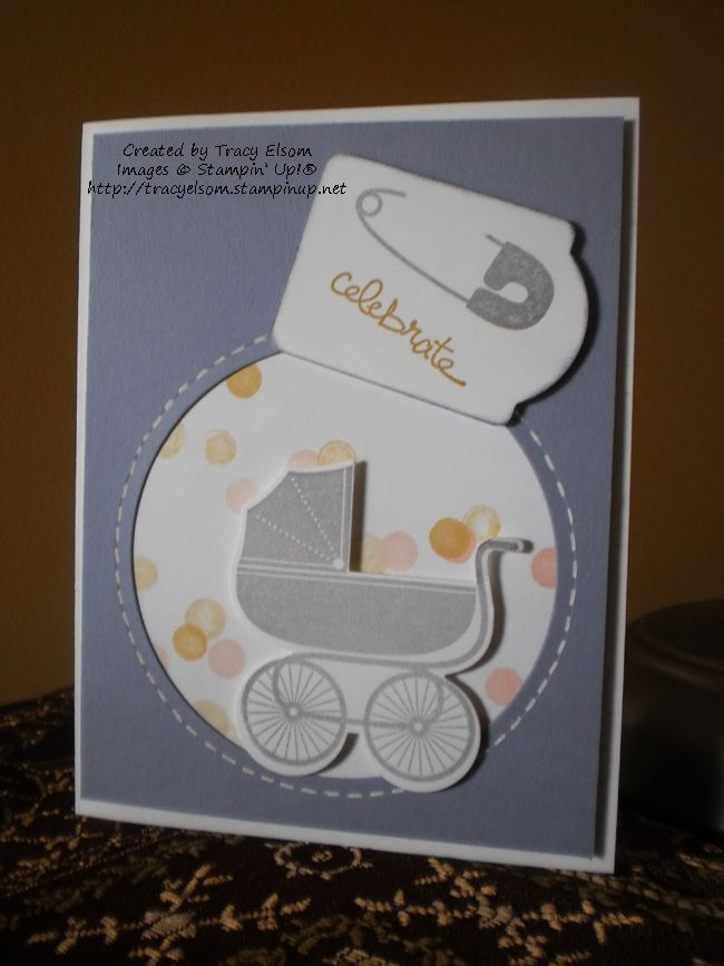 Card 22 of 24 in Tracy Elsom's personal World Cardmaking Day challenge uses Something for Baby stamp set and matching Baby's First Framelits.  #WCMD2014.  Purchase all products used at http://tracyelsom.stampinup.net