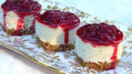 Mini Raspberry Cheesecakes. They are so easy and SO delicious! I plan on making them for every event this fall and winter