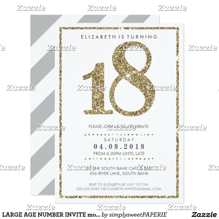 LARGE AGE NUMBER INVITE modern 18 gold glitter  - setup as a template you change the details yourself - too easy! #printedinvites #18thinvitations #eighteenth #invites #invitations #glamorousinvites #simplysweetpaperie #zazzle #diyinvites