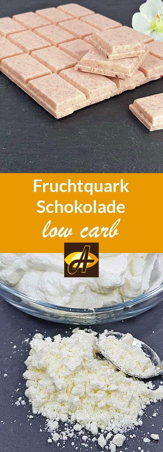 Rezept Erfrischende Weisse Fruchtquark-Schokolade low carb zuckerfrei -  Cremige, fruchtig-erfrischende weisse Schokolade mit quarkiger Note und lediglich 6 g Kohlenhydraten aber 10 g Eiweiss pro Tafel!