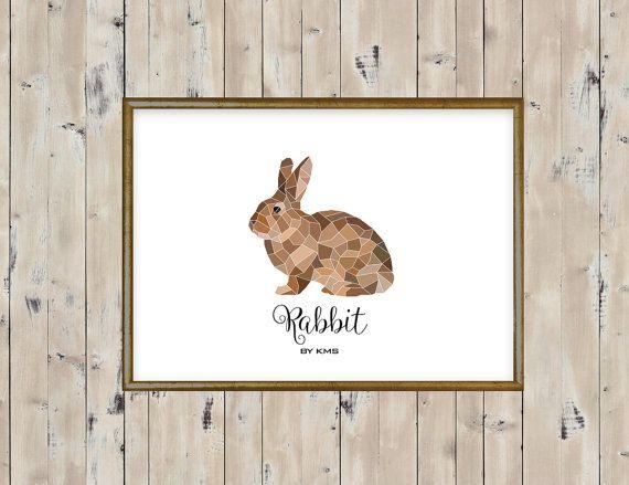BUNNY RABBIT printable. Rabbit pet minimal by KeepMakingSmiles