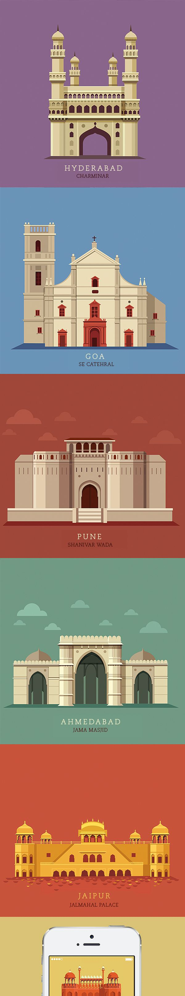 Illustrations of 10 most popular cities in India created for the Times Group for their upcoming web/ print experience.