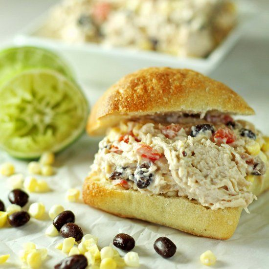This Mexican Chicken Salad  incorporates tomatoes, corn, and black beans for a delicious twist on a classic.