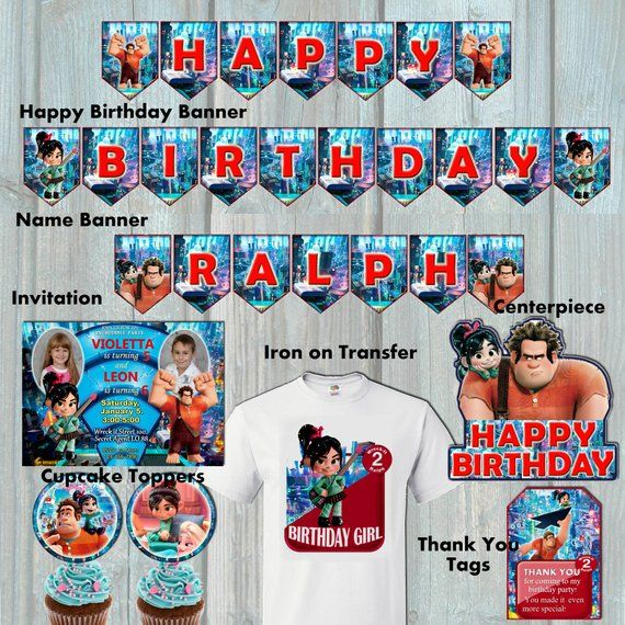 Ralph Breaks The Internet Birthday Package Wreck It Ralph Party Kit Vanellope Birthday Set Invitation Cupca Birthday Packages Party Kit Birthday Party Kits