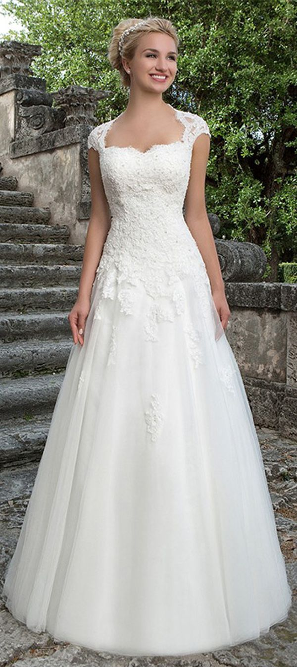 Gorgeous Tulle & Satin Square Neckline A-Line Wedding Dresses With Beaded Lace Appliques