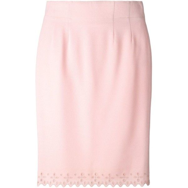Jean Louis Scherrer Vintage Embroidered Hem Pencil Skirt (230 CAD) ❤ liked on Polyvore featuring skirts, floral pencil skirt, light pink pencil skirt, wool pencil skirt, high waisted skirts and high waisted pencil skirt