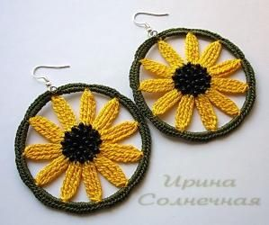 Earrings from the series 'The Road of flowers' - Sunflower by wanting