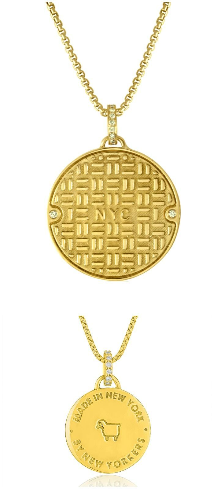 Julie Lamb's NYC Manhole Cover in yellow gold with diamonds! Handmade in NYC...
