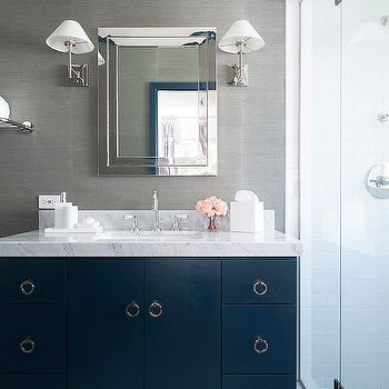 Navy Blue And Gray Bathrooms Contemporary Bathroom