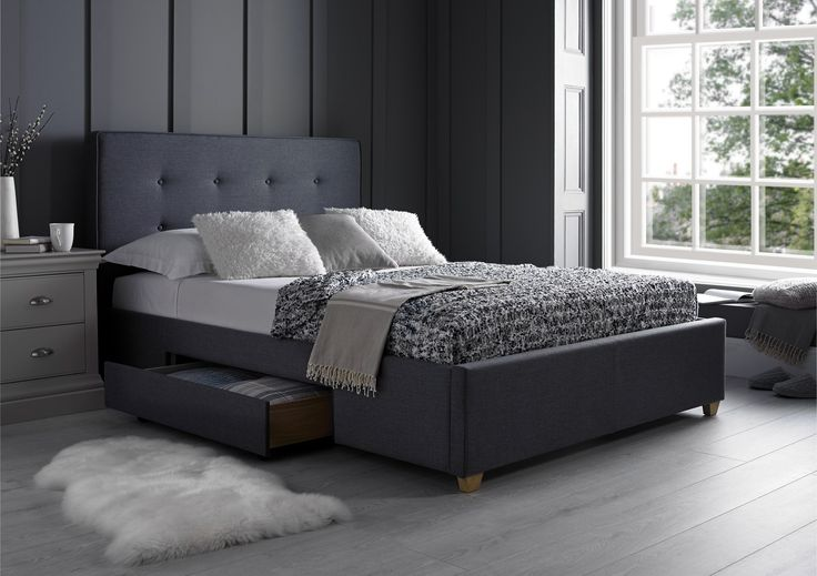 The Milano two drawer bed is new addition to our range which is exclusively made for Time 4 Sleep. Upholstered in an a grey graphite textured weave fabric the Milano model provides the latest upholstered look which can be easily co-ordinated with other home furnishings.  Featuring an elegantly designed tufted headboard  the Milano bed will creates a stylish and contemporary look, with the low foot end design helping to enhance the feeling of space in your bedroom.  The bed comes complete…