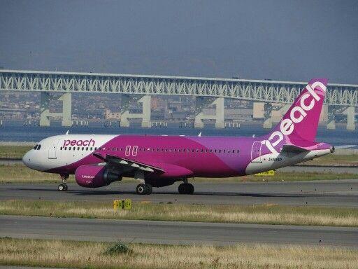 Peach aviation A320. Peach is a pioneer of Japanese LCC. (Kansai International airport, Japan.)