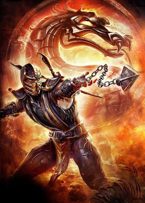 scorpion Mortal Kombat no jogo quando scorpion joga suas correntes ele grita : GET OVER HERE