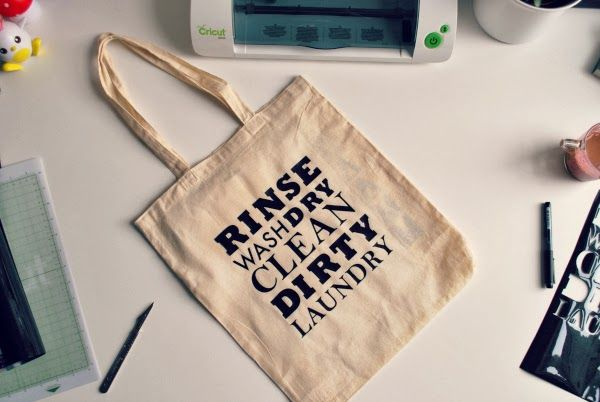 DIY tote bag project with iron-on transfers