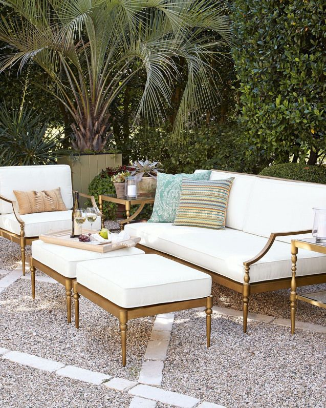 This is a great idea paint black metal outdoor furniture gold for a