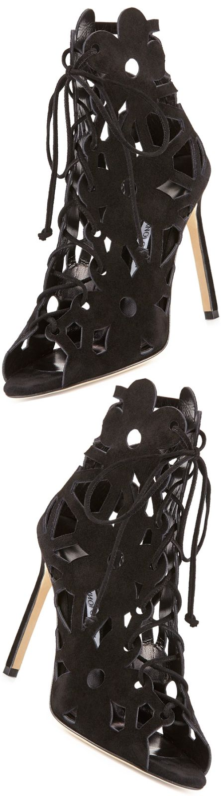 Manolo Blahnik Kahikalo Caged Suede Bootie | House of Beccaria~