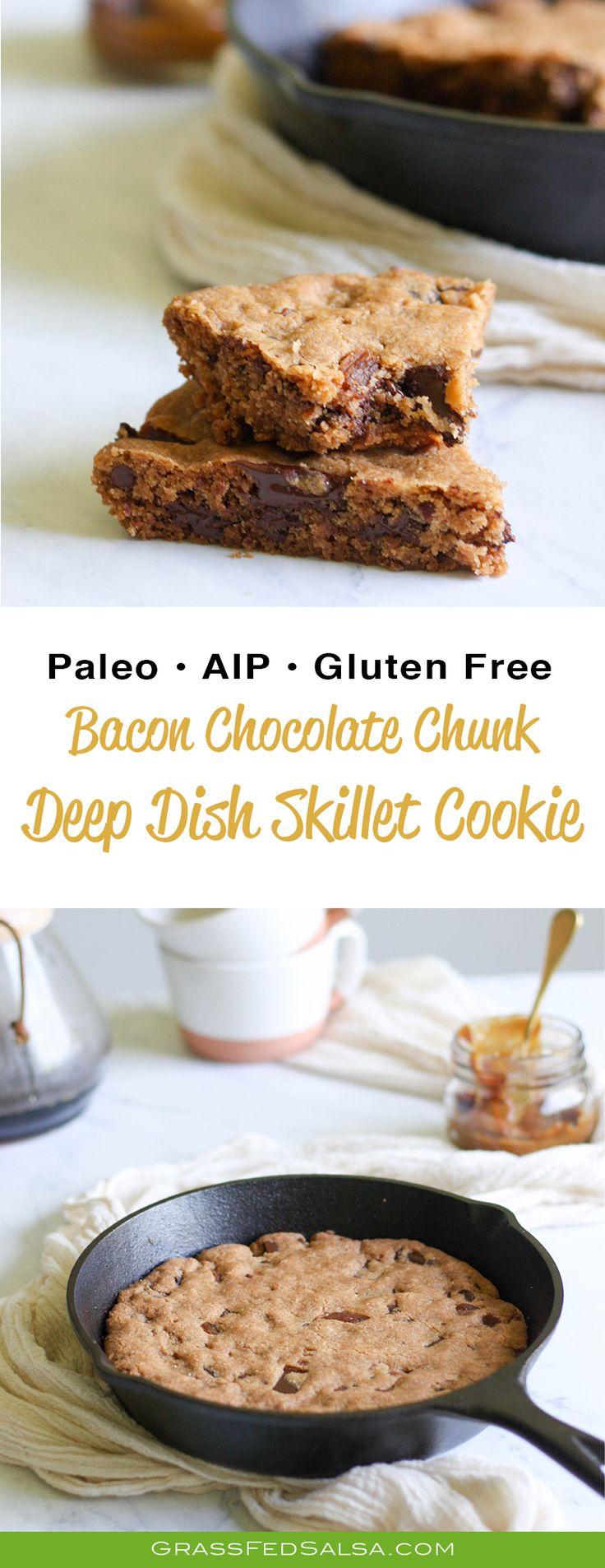 Bacon Chocolate Chunk Deep Dish Skillet Cookie recipe (Paleo, AIP, Gluten Free)