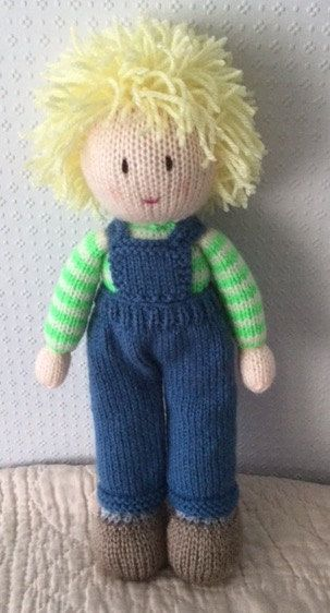 Hand knitted boy doll by DreamDollies on Etsy
