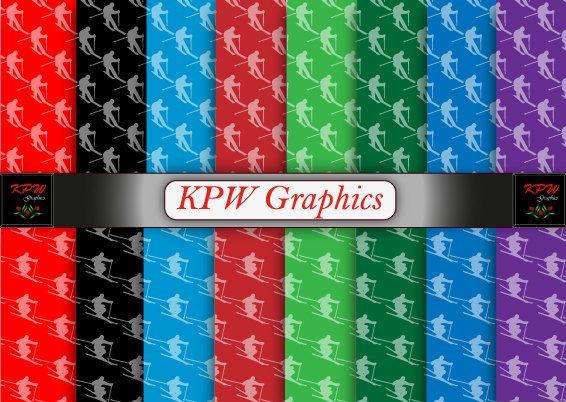 Skiers 2 types Rainbow Digital Printable Scrapbook by KPWgraphics